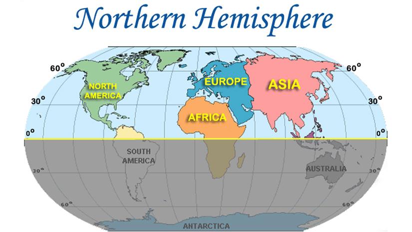 North western hemisphere map